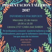Presentación General Talleres 2017 – Charla Informativa e Inscripción