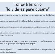 """Taller literario """"La vida es puro cuento"""""""