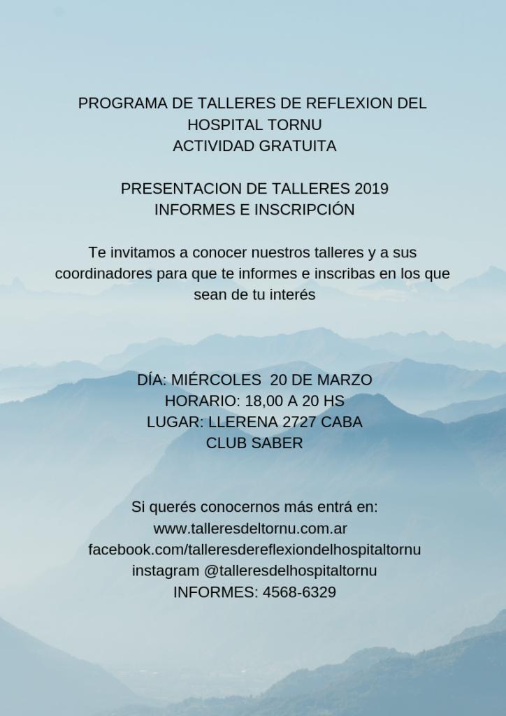 flyer presentacion talleres 2019 generio